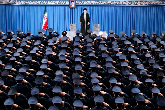 Air force and air defense staff salute Iran's Supreme Leader Ayatollah Ali Khamenei in Tehran.