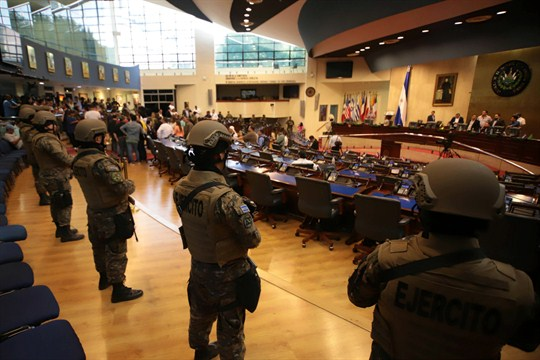 Armed Special Forces soldiers of the Salvadoran Army stand guard in the Legislative Assembly, San Salvador