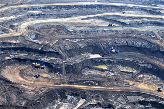 Mining operations at the Suncor Energy oil sands project near Fort McMurray, Alberta.