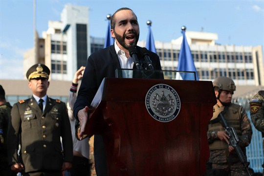 El Salvador's president, Nayib Bukele, addresses his supporters outside the Legislative Assembly in San Salvador.