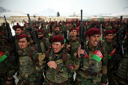 Afghan Army commandos attend their graduation ceremony after completing a training program