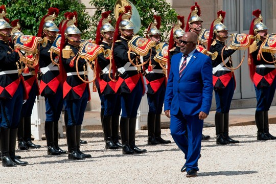 Comoros' president, Azali Assoumani, arrives for a meeting at the Elysee Palace in Paris, France.