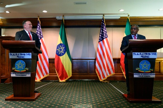 Secretary of State Mike Pompeo at a joint press conference with Ethiopian Foreign Minister Gedu Andargachew