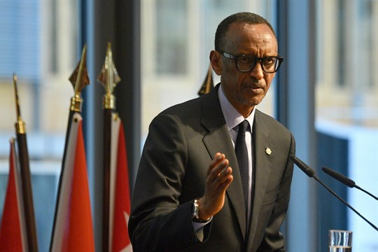 Rwandan President Paul Kagame speaks on the sidelines of the G-20 Compact with Africa summit.