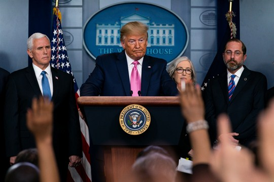 President Donald Trump speaks during a White House news conference with his coronavirus task force.