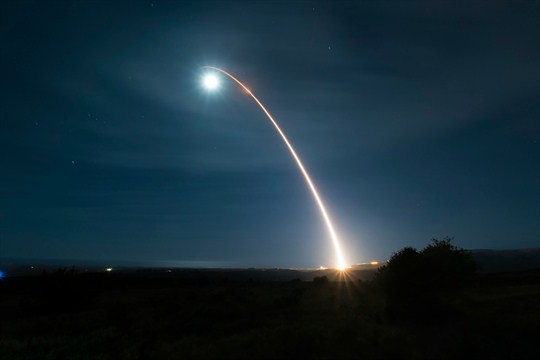 The launch of an unarmed Minuteman III intercontinental ballistic missile during a developmental test