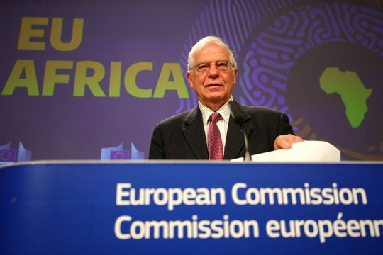 EU foreign policy chief Josep Borrell at a press conference at EU headquarters in Brussels.