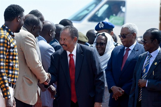 Sudan's prime minister, Abdallah Hamdok, is welcomed upon his arrival in Juba, South Sudan.