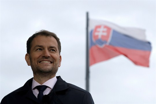 Slovakia's incoming prime minister, Igor Matovic, arrives for an interview in Bratislava.