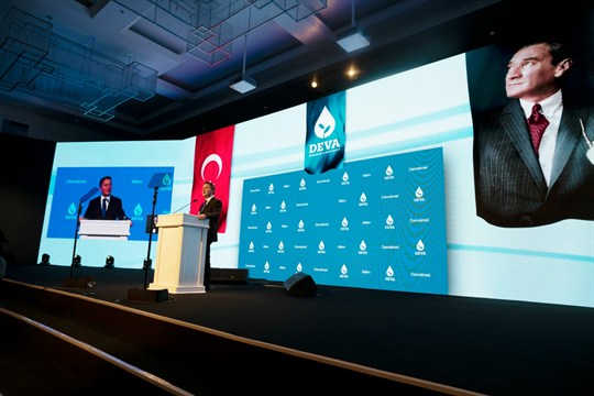 Ali Babacan speaks at the launch of his new Democracy and Progress Party, in Ankara.