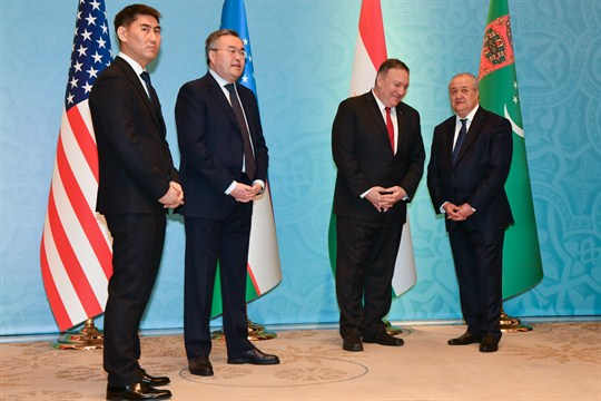 Foreign ministers from Kyrgyzstan, Kazakhstan and Uzbekistan with U.S. Secretary of State Mike Pompeo.