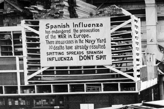 "A sign warning of the spread of the ""Spanish Influenza,"" in Philadelphia, 1918."