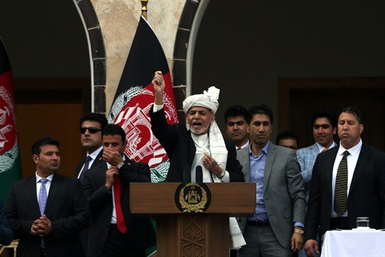 Afghan President Ashraf Ghani at his inauguration ceremony at the presidential palace in Kabul