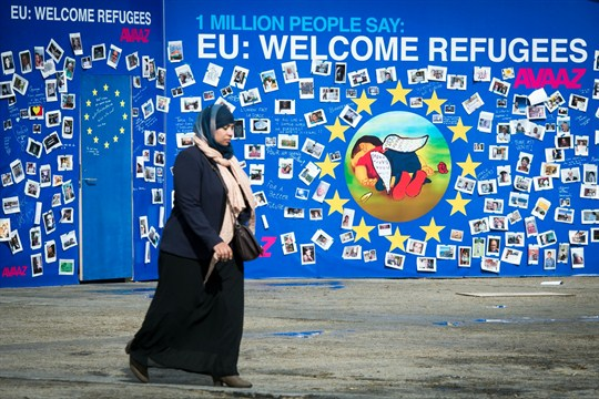 "The ""Wall of Welcome"" in front of European Commission headquarters in Brussels, Belgium."