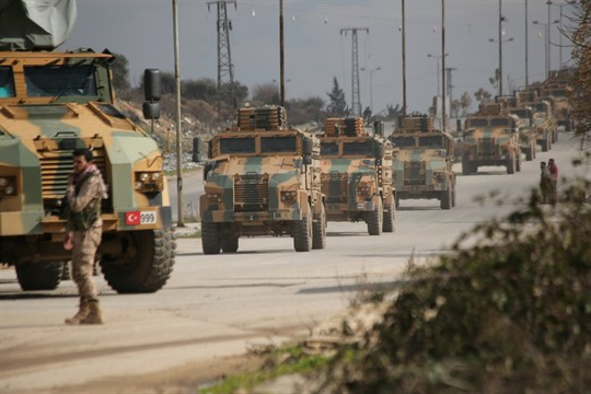 A Turkish military convoy in Idlib province, Syria.