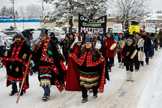 Wet'suwet'en hereditary chiefs, who oppose the Coastal GasLink pipeline, take part in a rally.