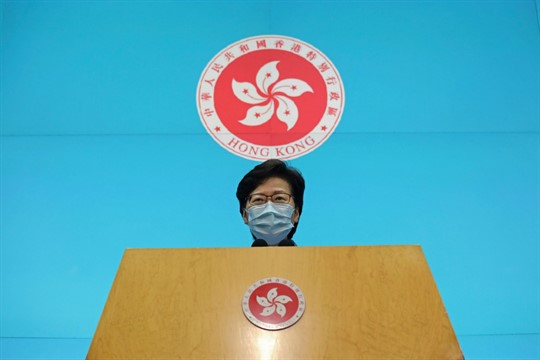 Chief Executive Carrie Lam speaks during a news conference on April 22, 2020, Kong