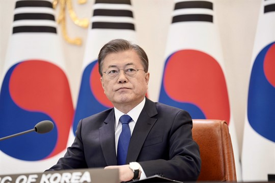 South Korean President Moon Jae-in at the presidential Blue House in Seoul, South Korea.