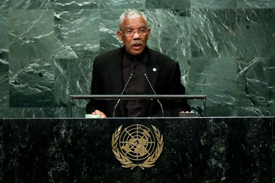 Guyana's president, David Granger, addresses the 71st session of the United Nations General Assembly