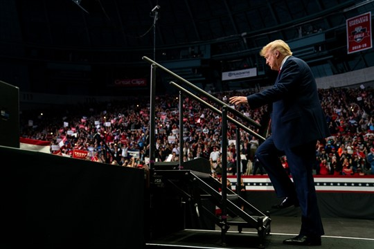 President Donald Trump arrives at a campaign rally in Charlotte, North Carolina