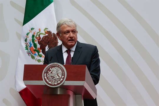 Mexican President Andres Manuel Lopez Obrador speaks at the National Palace in Mexico City