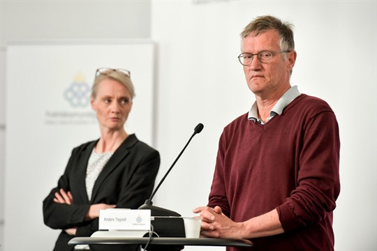 Sweden's state epidemiologist, Anders Tegnell, takes part in a coronavirus press conference in Stockholm.