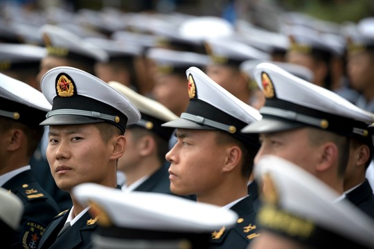 Chinese sailors at a concert featuring Chinese and foreign military bands in Qingdao, China.