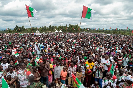 Supporters of the ruling party gather for the start of the election campaign, Bugendana, Burundi