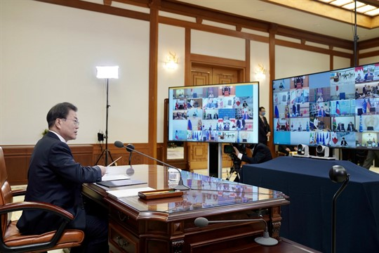 South Korean President Moon Jae-in attends a G-20 virtual summit to discuss the coronavirus outbreak