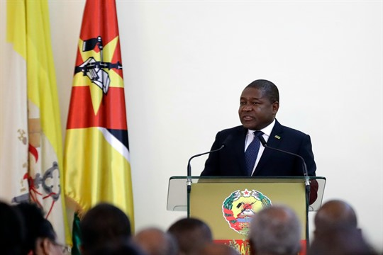 Mozambique's president, Filipe Nyusi, at the Ponta Vermelha Palace in Maputo.