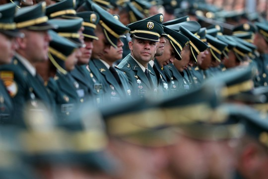 Army officials attend a military ceremony in Bogota, Colombia.