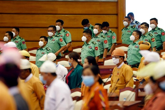 Lawmakers wearing face masks to help curb the spread of the new coronavirus in Naypyitaw, Myanmar