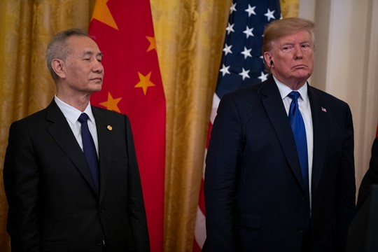President Donald Trump and Chinese Vice Premier Liu He before signing a U.S. China trade agreement