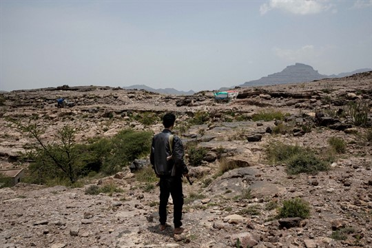 A fighter from a militia known as the Security Belt in Yemen's Dhale province.