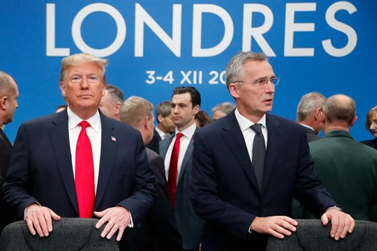 U.S. President Donald Trump and NATO Secretary General Jens Stoltenberg prior to a NATO leaders meeting