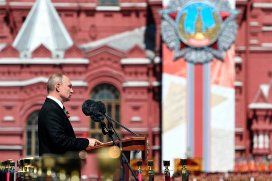 Russian President Vladimir Putin delivers his speech during the Victory Day military parade in Moscow