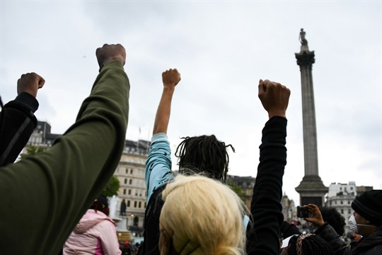 People gather in Trafalgar Square during a Black Lives Matter rally in London