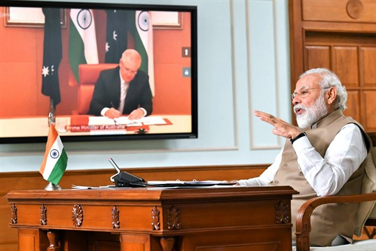 Indian Prime Minister Narendra Modi speaks during a virtual meeting with Australian Prime Minister Scott Morrison