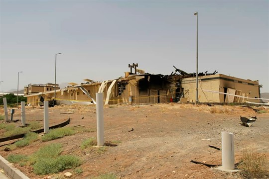 A building damaged by a fire at the Natanz uranium enrichment facility
