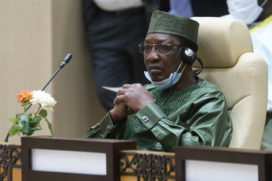 Chad President Idriss Deby takes part in a working session during the G5 Sahel summit