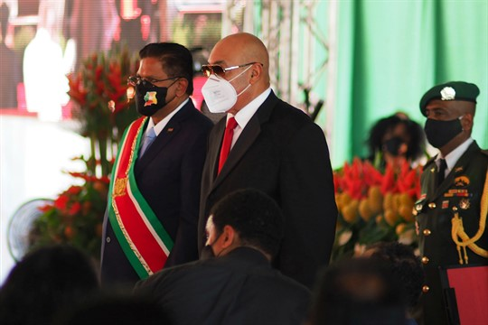 Former Surinamese President Desi Bouterse and the new president, Chan Santokhi, in Paramaribo