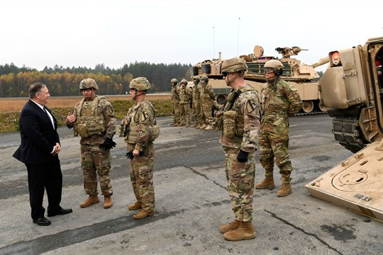U.S. Secretary of State Mike Pompeo talks to American soldiers based in Grafenwoehr, Germany
