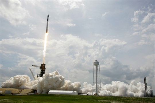 The SpaceX Falcon 9 lifts off at the Kennedy Space Center in Cape Canaveral, Florida