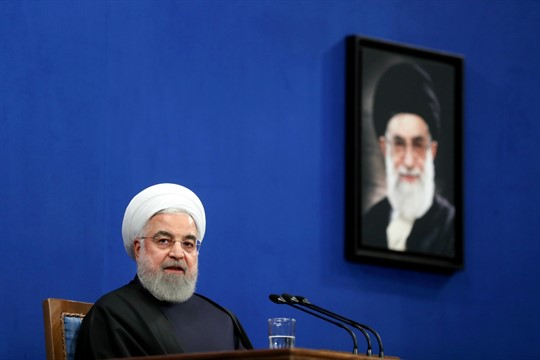 Iran's president, Hassan Rouhani, at a press conference in Tehran