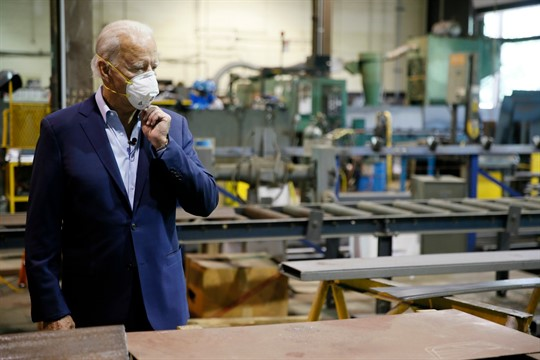 Former Vice President Joe Biden tours McGregor Industries, a metal fabricating facility, in Dunmore, Pa.