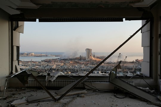 The destroyed port in Beirut, Lebanon, after a massive explosion