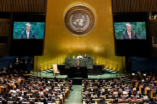 U.N. Secretary-General Antonio Guterres addresses the 74th session of the United Nations General Assembly