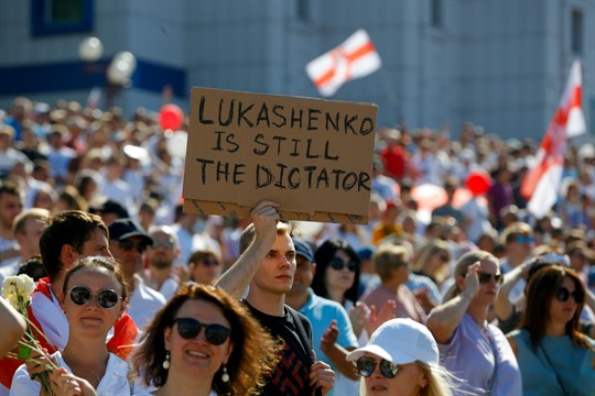 Belarusian opposition supporters rally in the center of Minsk, Belarus