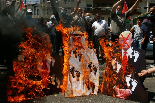 Palestinians protest against the UAE's deal with Israel in Nablus, West Bank