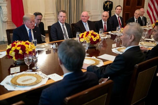 President Donald Trump and Chinese Vice Premier Liu He at a White House lunch.
